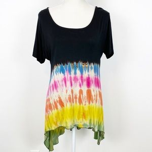 Tie Dye Rainbow NWT High Low Tee M NN
